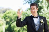 Happy young groom toasting champagne flute in garden