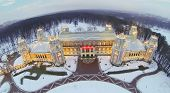 Beautiful Tsaritsyno Palace at winter evening in Moscow, Russia. Aerial view