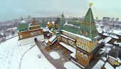 Palace in Kolomenskoye was built in XVII century at winter day in Moscow, Russia, Aerial view