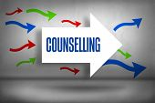 The word counselling against arrows pointing