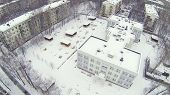 Kindergarten in residential district Bogorodskoe at winter in Moscow. Aerial view