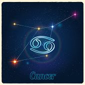 Vector constellation Cancer with Zodiac sign