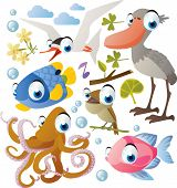 Vector animal set: shoebill, tern, fish, nightingale, octopus