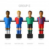 Table football, foosball players. Group E - England, Switzerland, Germany, Romania. Vector