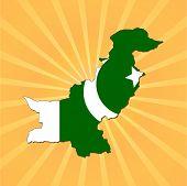 Pakistan map flag on sunburst vector illustration