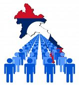 Lines of people with Laos map flag vector illustration