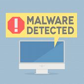 stock photo of malware  - minimalistic illustration of a monitor with a malware alert speech bubble - JPG