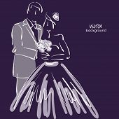 art sketched beautiful young bride and groom with the bride's bouquet on dark back. Vector backgroun