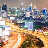 aerial view of Bangkok downtown Highway in business area at Night