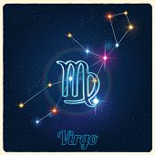 pic of virgo  - Vector constellation Virgo with Zodiac sign - JPG