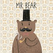 Mr Bear. Cute cartoon bear in classical style with top hat, smoking pipe, bow-tie and nice mustache.