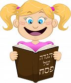 Girl Reading From Haggadah For Passover