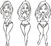 foto of seminude  - Vector sketches of pretty girls - JPG