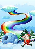 Illustration of a happy Santa walking near the igloo under the rainbow