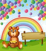 Illustration of a bear sitting beside the empty board with balloons and a rainbow