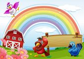 Illustration of the birds at the farm with a rainbow and an empty signboard