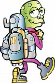 Cartoon alien jetpack user.