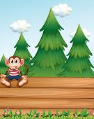 Illustration of a monkey sitting above the empty wooden boards in front of the pine trees