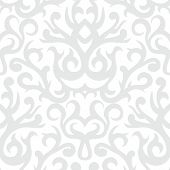 Damask pattern in white and silver