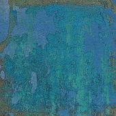 Blue 3D Abstract Grunge Paint Layer Wall