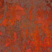 Red Brown 3D Abstract Grunge Paint Layer Wall