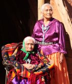 foto of native american ethnicity  - Two Navajo Wise Elderly Women Outdoors in Bright Sun - JPG