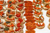 image of canapes  - Finger food canapes and small sandwiches for party - JPG