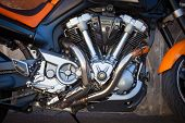 image of exhaust pipes  - Motor bike engine detail with exhaust pipes - JPG