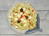 Giant couscous salad with feta cheese