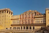 JAIPUR, INDIA - NOVEMBER 18, 2012: Tourists visiting Hawa Mahal palace (Palace of Winds) - famous Ra