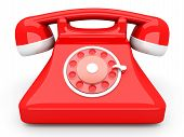 stock photo of rotary dial telephone  - A red classic Telephone - JPG