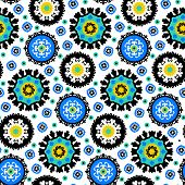 picture of motif  - Ethnic pattern in bright color with stylized flowers - JPG