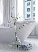 Pure white bathroom interior with separate bathtub