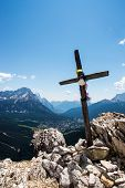 Wooden Cross On Mountain's Top
