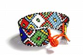 image of zulu  - isolated single traditional brigh beadwork zulu bracelet