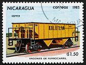 Postage Stamp Nicaragua 1983 Ore Wagon, Railroad Car