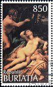 A stamp printed in Buryatia shows picture of Correggio