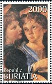 BURYATIA - CIRCA 1990: A stamp printed in Buryatia shows picture of Verrocchio & Leonardo