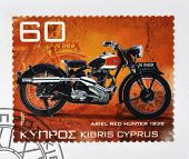 CYPRUS - CIRCA 2007: A stamp printed in Cyprus shows a motorbike Ariel red Hunter 1939 circa 2007