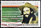 CUBA -CIRCA 1969: A stamp printed in Cuba shows portrait Camilo Cienfuegos circa 1969