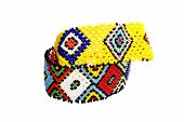 stock photo of zulu  - two zulu beadwork bracelets in bright colors