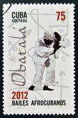 CUBA - CIRCA 2012: Stamp printed in Cuba dedicated to Afro-Cuban dance and Yoruba gods