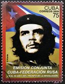 a stamp printed in Cuba showing an image of Ernesto Che Guevara