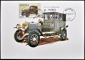 A stamp printed in Spain shows a classic car Elizalde 1915