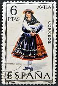 A stamp printed in Spain dedicated to Provincial Costumes shows a woman from Avila