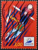 A stamp printed in France dedicated to Football World Cup France