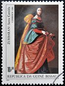 stamp shows draw by artist Francisco Zurbaran - Santa Isabel de Portugal