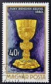 A stamp printed in Hungary shows Chalice by Benedek Suky 1440