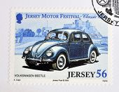Stamp printed in Jersey dedicated to classic cars shows Volkswagen Beetle