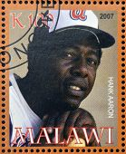 stamp printed in Malawi dedicated to greatest baseball players shows Hank Aaron